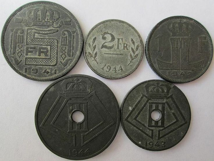 Belgian zinc coins made during World War II.