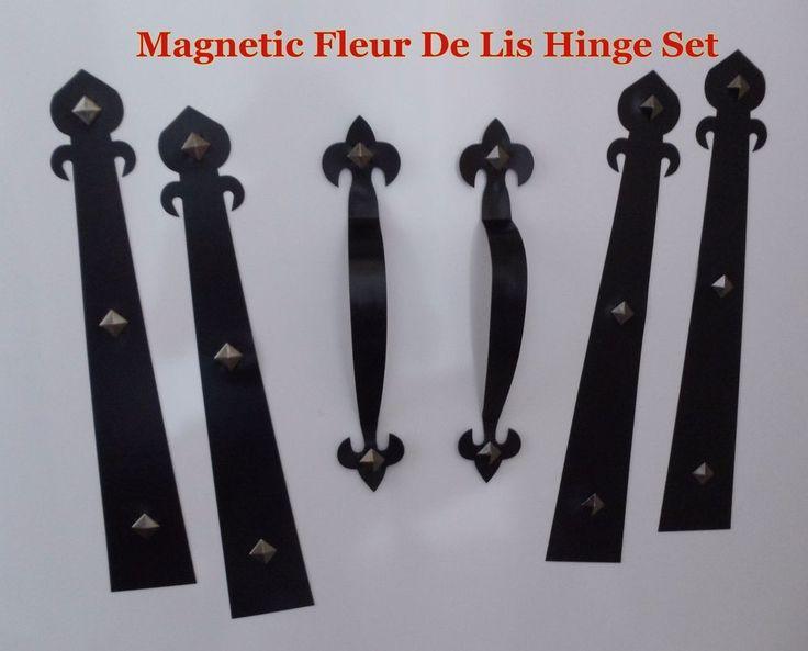 magnetic garage door decorative hardware kit hinges fleur de lis1 carriage house - Garage Door Decorative Hardware