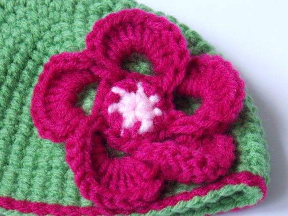 Flower Hat. Crochet Flower Beanie. Made to by TheScarletHandCraft