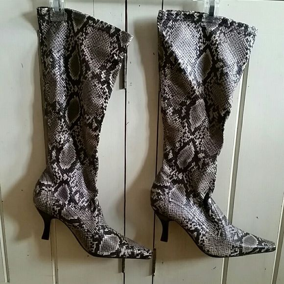 Franco Sarto stretch knee high boots * brand new - never worn * snakeskin stretchy knee highs * pointy toe * heel is not too high so very comfy * SZ 8 Franco Sarto Shoes Heeled Boots