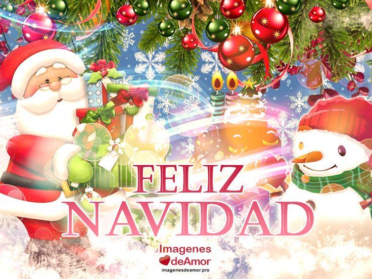 Papa Noel con regalos y frase: Feliz Navidad