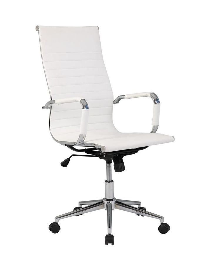 New White Modern Ergonomic Ribbed High Back Executive PU Leather Office Chair | Business & Industrial, Office, Office Furniture | eBay!
