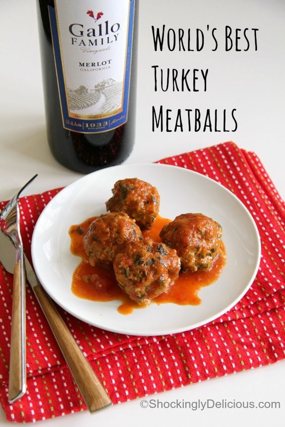 "World's Best Turkey Meatballs ~ You won't believe the ""gourmet"" items in this 2-ingredient sauce for kid-approved World's Best Turkey Meatballs! Everyone will love this sweet-and-sour twist on plain old meatballs! (And yep, that's spinach in there!)"