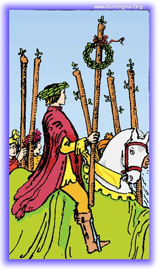 The Six of Wands indicates that one has passed through the challenges and confusion of the five of wands, and has succeeded in reaching their goals.