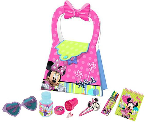 MINNIE MOUSE PARTY BAG: •  Minnie Mouse Sunglasses  • Minnie Mouse Bubbles  • Minnie Mouse Stamp  • Minnie Mouse Hair Clip  • Minnie Mouse Crayons  • Minnie Mouse Notebook
