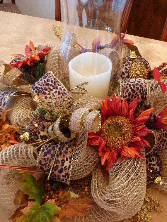 Deco mesh thanksgiving centerpiece with leopard ribbon and