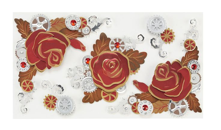 EK Success - Jolee's Boutique - Steampunk Collection - 3 Dimensional Stickers with Foil and Gem Accents - Rose Flourish at Scrapbook.com $4.39