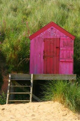 pink beach hut