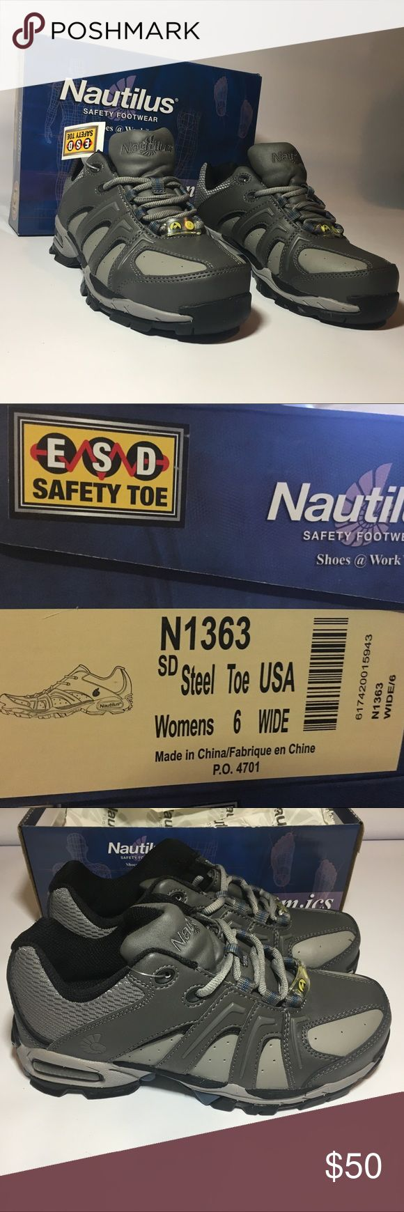 Nautilus Sz 6 Wide work Safety Shoes Brand new in box  Womens size  6 Wide  Model N1363  Color is Gray with black trim  Features:  ASTM F2413 protective toe classification Rubber outsole with Molded EVA midsole ASTM F2413 static-dissipative standard Leather and nylon combination uppers Athletech EVA Midsole for lightweight comfort Removable Athletech polyurethane sock liner PROTECTIVE TOE Impact testing determines the amount of protection to the toe under various foot pounds of force. Our…
