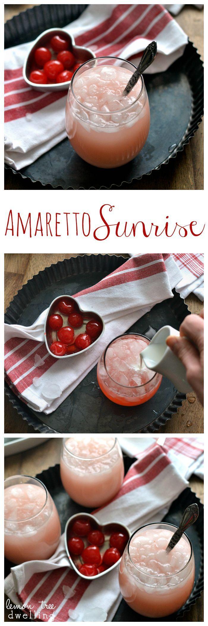 Amaretto Sunrise - a deliciously sweet cocktail made with amaretto, triple sec & grenadine!
