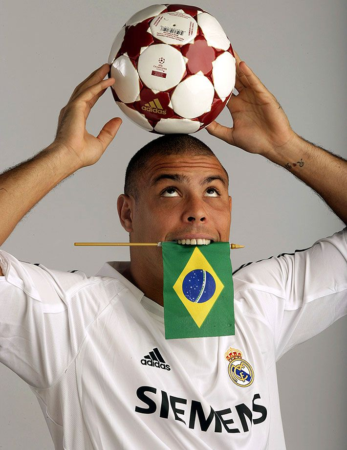 Ronaldo Luis Nazario de Lima goofs around during a photo shoot on July 17, 2005 in Los Angeles. Brazilian soccer fans will forever remember Ronaldo for his fun-loving antics, dominant scoring ability, mesmerizing dribbling skills and leadership on two World Cup-winning teams. The three-time FIFA player of the year turned 39 years old today.