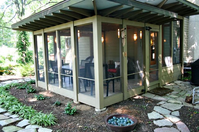 Screened porch. Ours could use a makeover (like 40 years ago). I'd love something like this.