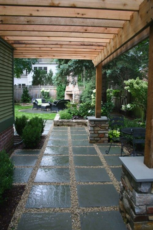 Like the idea of natural wood ribs with clear (plastic?) roof--- OP:Patio - large pavers with pebbles.
