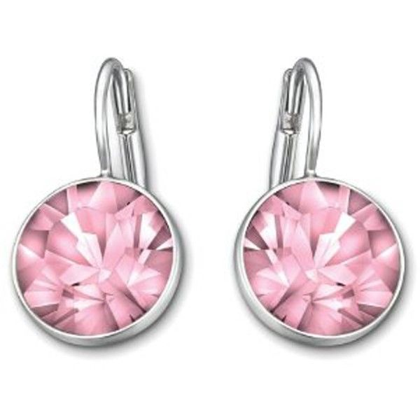 Swarovski Crystal Pink Bella Earrings with Rhodium Plate ($79) ❤ liked on Polyvore featuring jewelry, earrings, swarovski crystals jewelry, swarovski crystal jewelry, rhodium plated earrings, bezel set earrings and earring jewelry