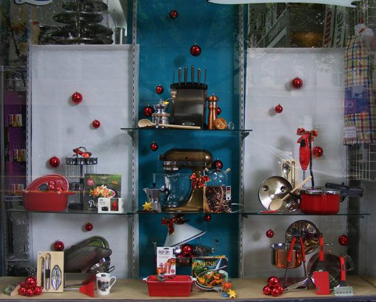 Grown up gourmet cooks Christmas 2013 kitchenware window display by Patricia Denis #antiquecopperkitchenaid