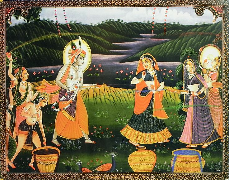 Radha Krishna Playing the Festival of Color Holi with Gopi and Gopinis (Reprint On Card Paper - Unframed))