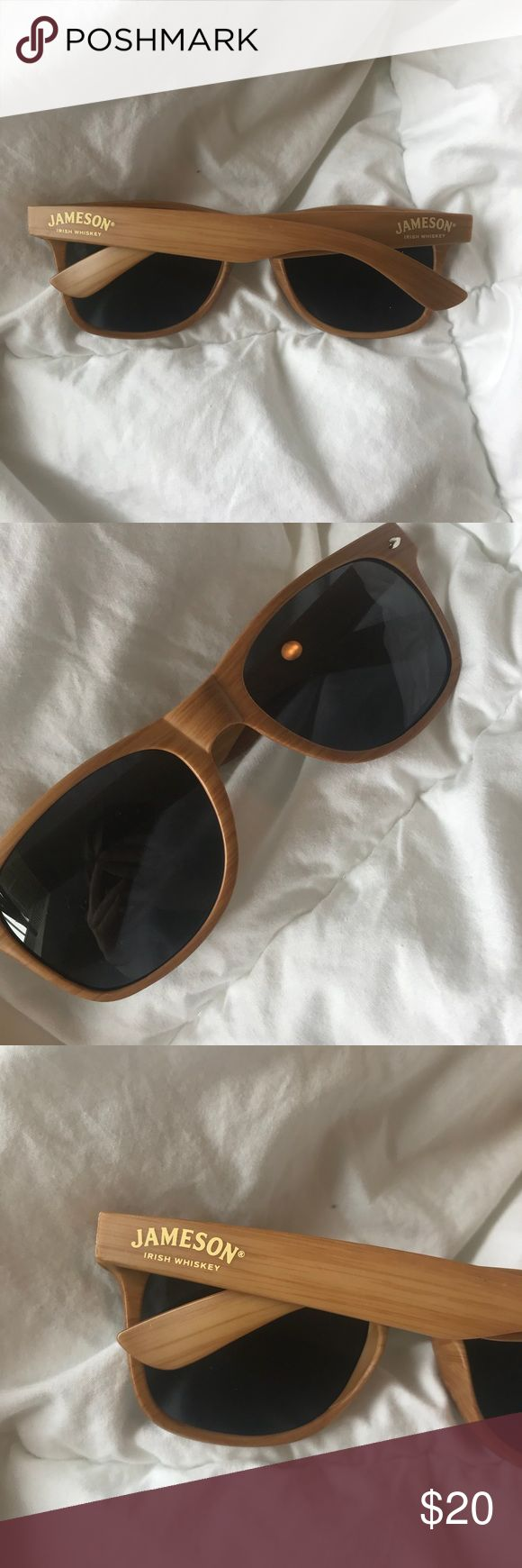 """Jameson Irish Whiskey sunglasses Faux wood  Brand new in perfect condition! Perfect for St. Patrick's Day! Dark lenses with """"Jameson"""" on each side  Very unique :) Accessories Glasses"""