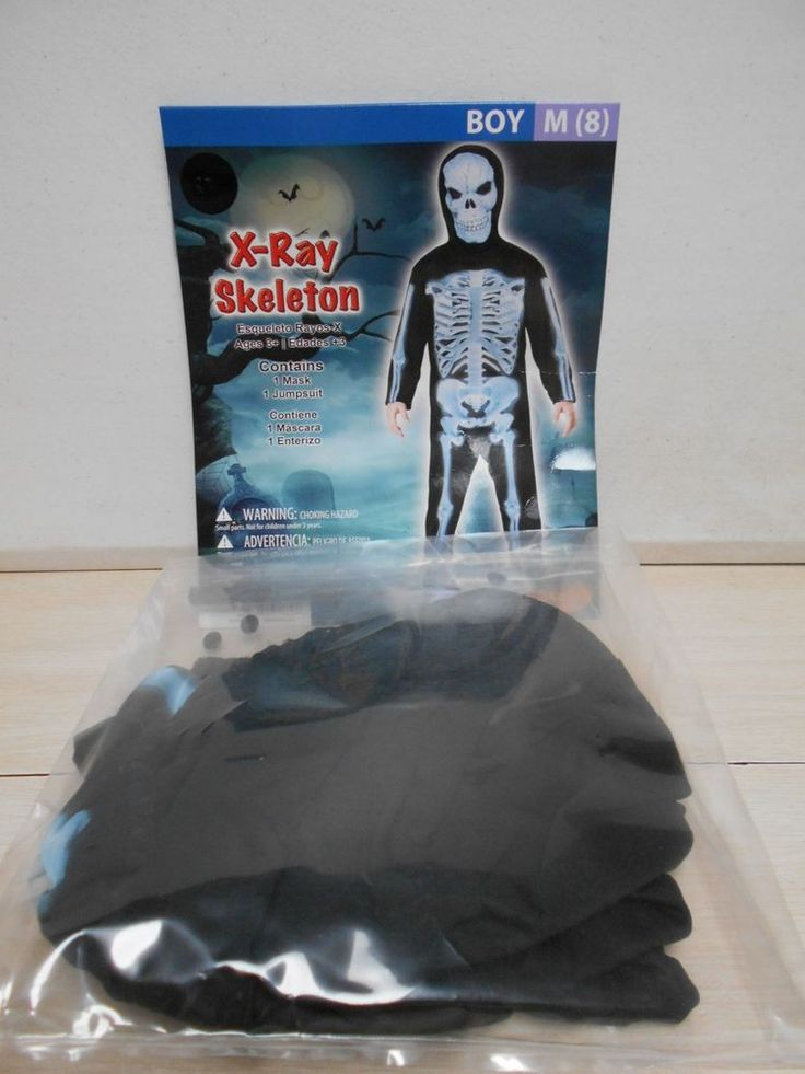 SIZE Medium 8 Boys 2 PC Halloween Costume NEW X-Ray Skeleton W/Sheer Face Mask #Seasons #CompleteOutfit