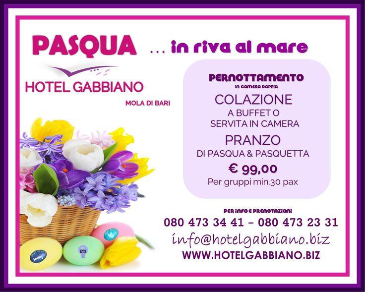 Strepitosa offerta #Hotelgabbiano..#Pasqua in #riva al #mare!! offerta valida per gruppi di minimo 30 persone..L'offerta comprende: -Pernottamento in camera doppia -Colazione a buffet o servita in camera -Pranzo di Pasqua e Pasquetta  Info e prenotazioni: WWW.HOTELGABBIANO.BIZ WWW.HOTELGABBIANO.BIZ INFO@HOTELGABBIANO.BIZ TEL/FAX 080 473 34 41 – 080 473 23 31 VIA PIERO DELFINO PESCE,24 MOLA DI BARI (BA) 70042  #HOTEL #PUGLIA #PASQUA #PASQUETTA #COLAZIONE #PRANZO