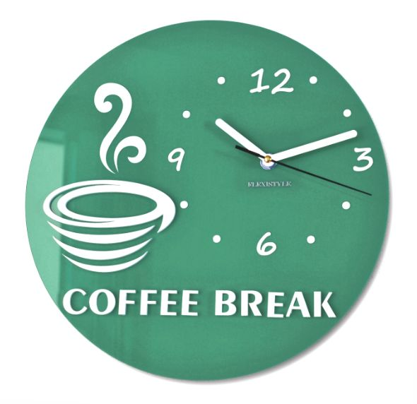 Zelené nástenné hodiny s motívom kávy
