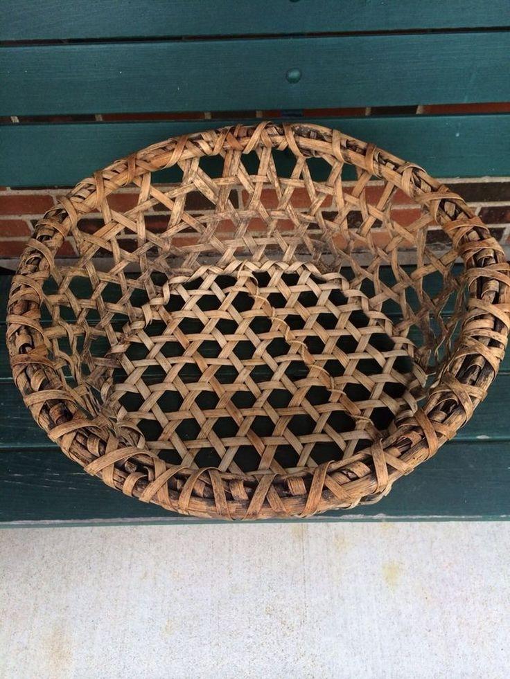 21in wide x 8in deep Huge Antique Vintage Splint Cheese Basket