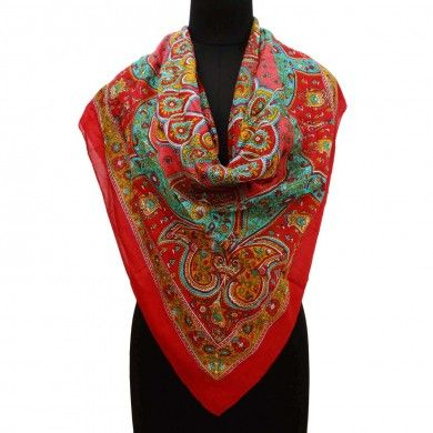 Cotton Fancy Scarves Red Floral Pattern Stole Beach Wear Head Wrap Free Shipping
