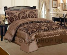 Luxurious 3 Pcs Flock Quilted Bedspread / Comforter Set - CHOCOLATE WITH BROWN - RV  Our quilted bedspread will add wonderful comfort to your bed. Dress your bed with our stylish bedspread, featuring an intricate swirling brown Damask flocked design on chocolate background. Made with a soft faux silk base for added comfort, this throw will add a lovely decorative touch to your bedding collection.