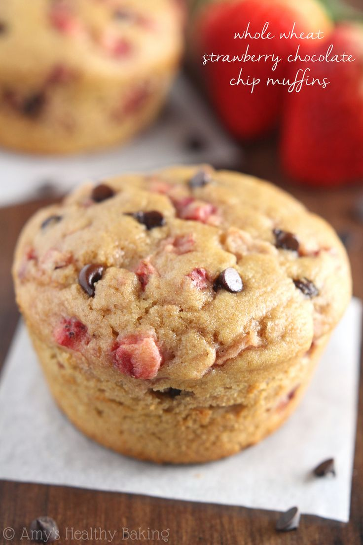 Whole Wheat Strawberry Chocolate Chip Muffins -- SO much fruit & chocolate! These practically taste like cupcakes for breakfast! #ButterImprovement