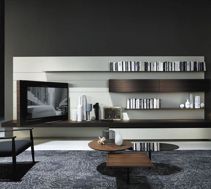 Contemporary TV Wall Unit In Wood By Piero Lissoni MODERN Porro