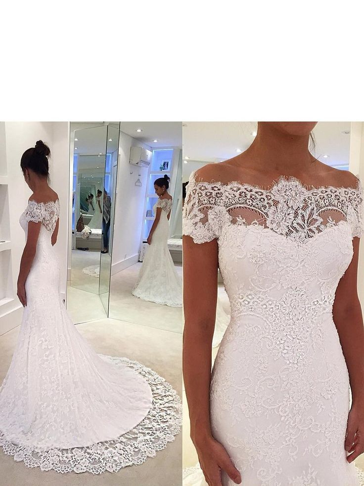 BohoProm Wedding Dresses Modern Lace Off-the-shoulder Neckline Chapel Train Mermaid Wedding Dress WD063