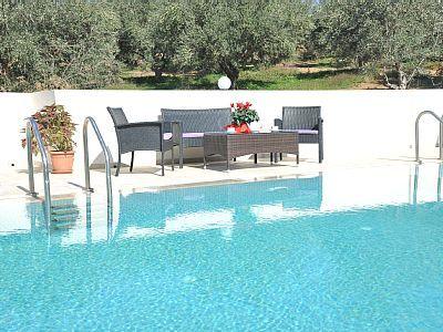 Rethymno villa rental - Villa Maria-Siting area next to the pool!