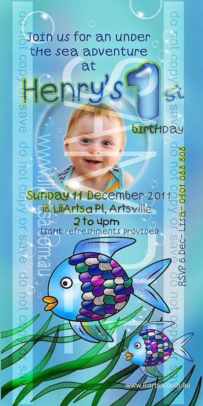 Rainbow Fish Under the Sea Childrens Birthday Invitations