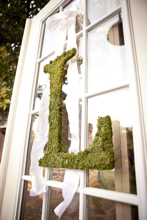 DIY moss letter on windows with knotted