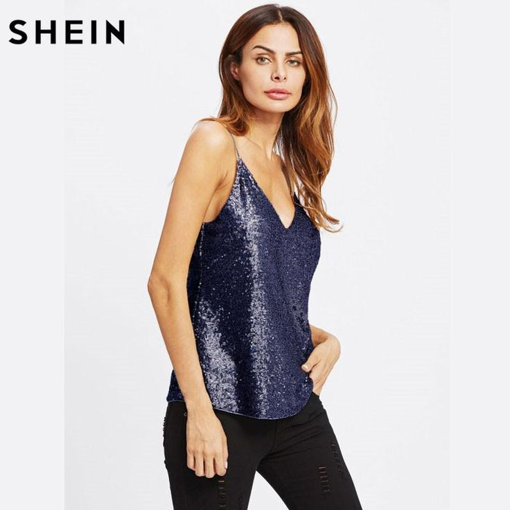 SHEIN Metallic Navy Sequin V Neck Cami Camisole Spaghetti Strap Women Sleeveless Summer Sexy Party Camis Tops