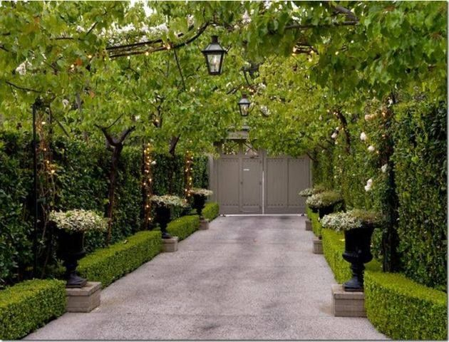 Driveway lighting by Bevolo, from arbor, boxwood lined, potted flowers