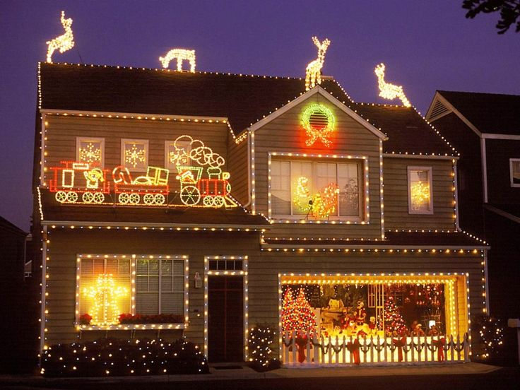 Christmas house decorated