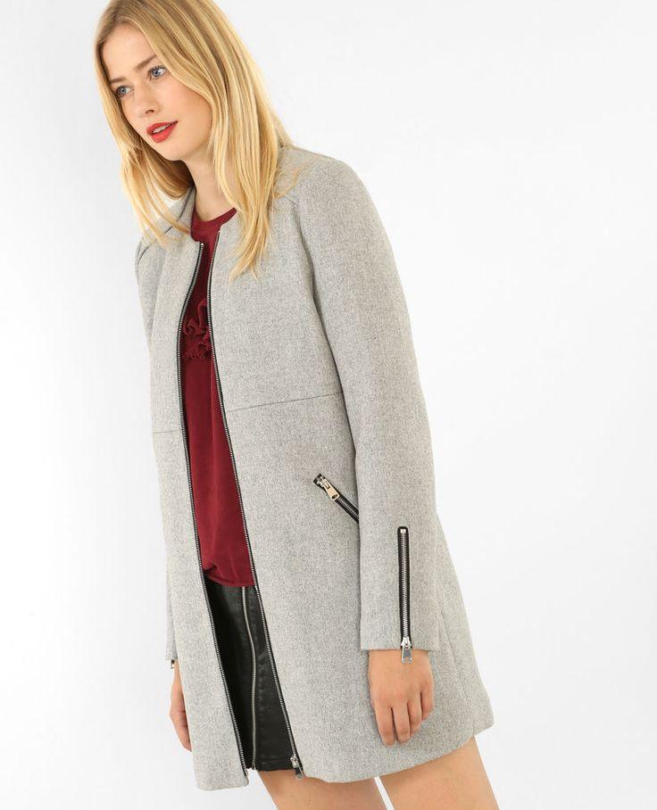 Manteau mi-long zippé gris chiné