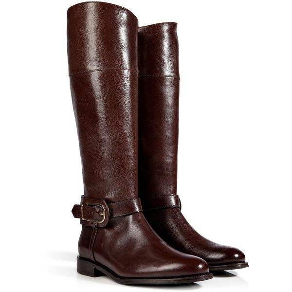BURBERRY SHOES & ACCESSORIES Leather Winton Riding Boots in Chocolate (2.130 BRL) ❤ liked on Polyvore featuring shoes, boots, botas, footwear, sapatos, chocolate brown riding boots, low heel riding boots, genuine leather riding boots, leather equestrian boots and round toe boots