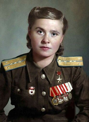 Marina Dolina, Hero of the Soviet Union: Flew seventy-two missions, bombing enemy supply depots, strongpionts, tanks, artillery batteries, rail and water transport in support of Red Army ground units. On the 18th August 1945, Comrade Dolina was awarded the title of Hero of the Soviet Union.