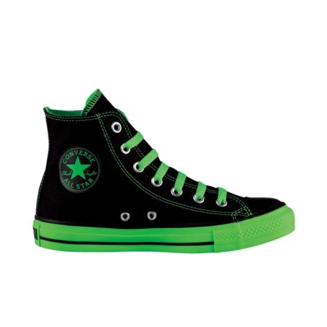 Black/ neon green Chucks #converse #chucktaylor #hightops