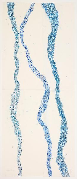 Louise Bourgeois, Look Up!! (#1), 2009 – Etching, watercolor, color pencil and gouache on paper, 242.6 x 101.6 centimeters