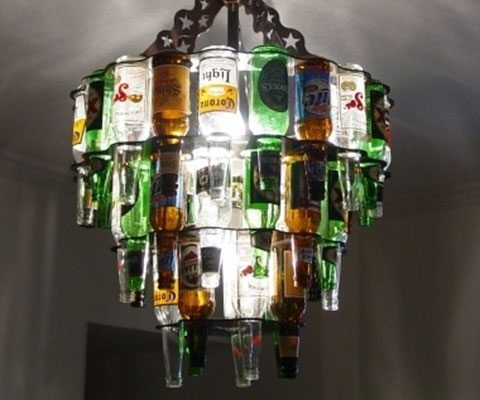 Beer Bottle Chandelier - https://tiwib.co/beer-bottle-chandelier/ #AlcoholicGear, #GiftsForMen, #HomeDecor #gifts #giftideas #2017giftideas #xmas