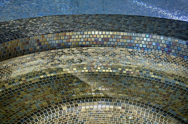 Hot tub tiled with 'Alexander' from the Cocktail Mosaic collection. See more at designworkstiles.com.