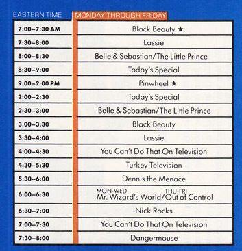 Nickelodeon 80's Schedule
