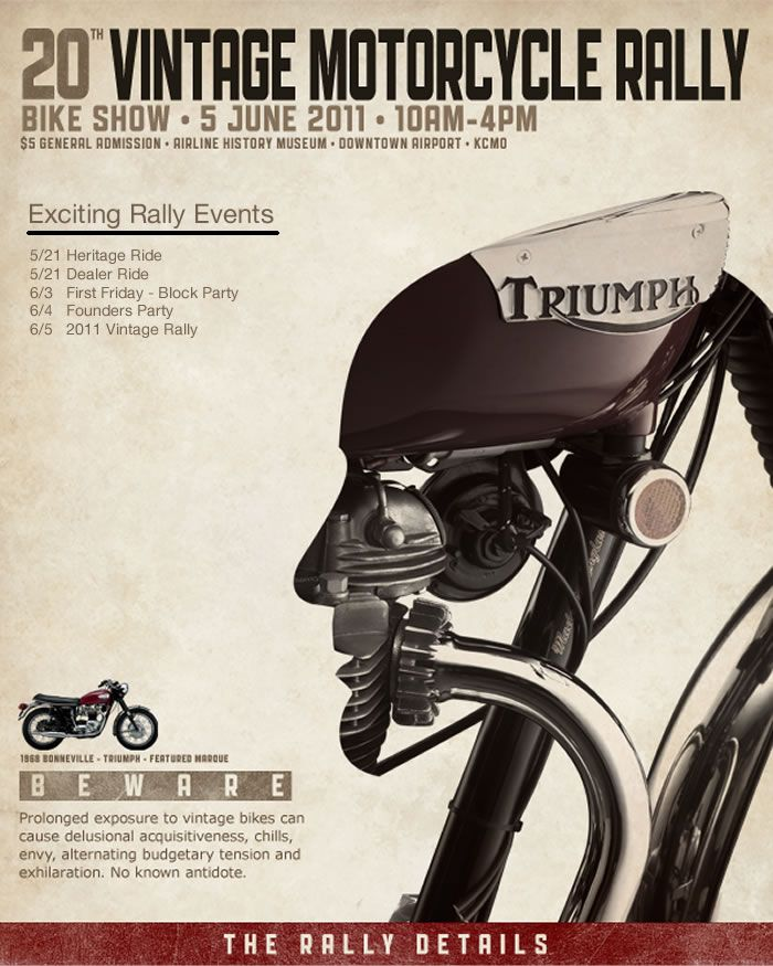Really beautiful poster designed for a vintage bike rally in Kansas.