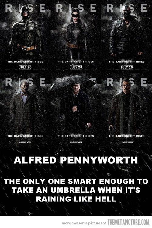 Pardon the swearing. Alfred FTW.: The Dark Knights, Laughing, Knights Rise, Movie, Funny Stuff, Batman, Humor, Superhero, Alfred Pennyworth
