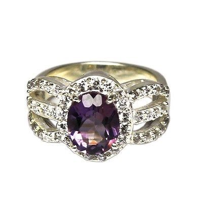 FREE SHIPPING 925  STERLING SILVER NATURAL QUALITY AMETHYST GEMSTONE RING SIZE 7