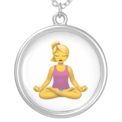 Woman in Lotus Position - Emoji Silver Plated Necklace - jewelry jewellery unique special diy gift present