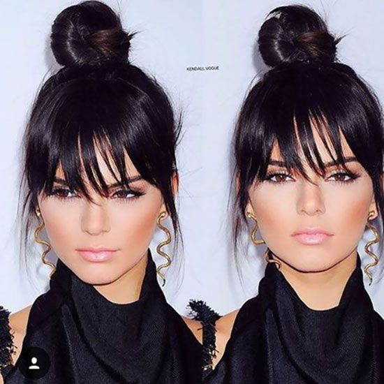 Fake bangs with a top knot that lets the ends of your hair loose in a bang style