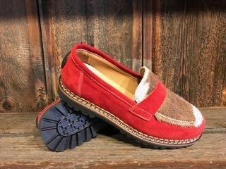 Ammann Interlaken Shoe in Red Suede with Tan/White Calf Hair